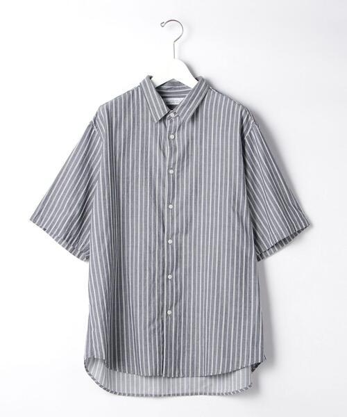 CM シェニール ストライプ ジャストルーズ レギュラーカラー 半袖 シャツ