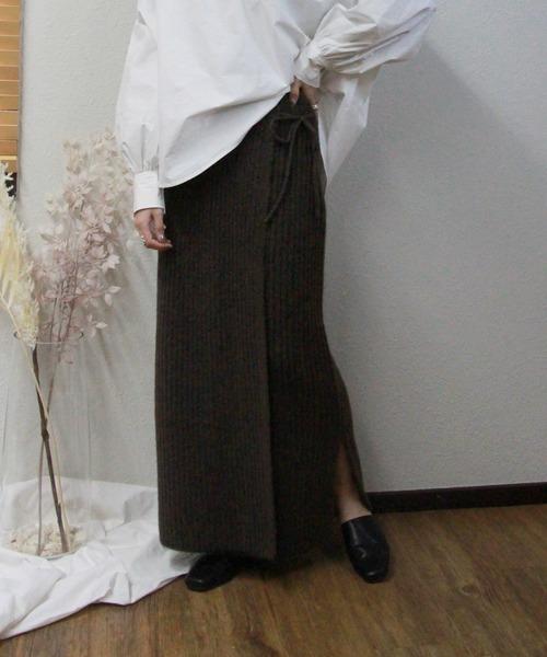ニットラップスカート