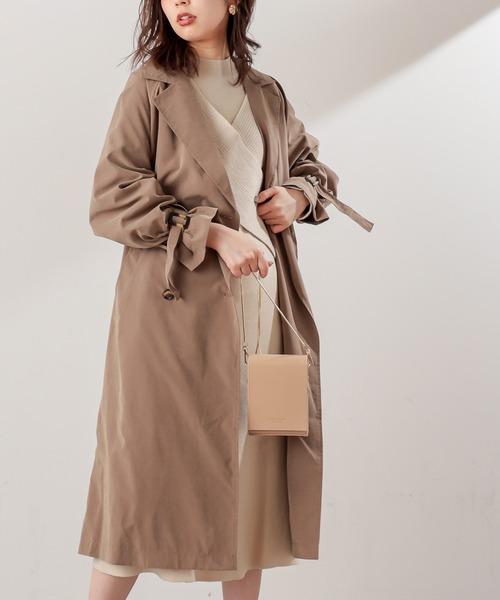 natural couture(ナチュラルクチュール)の「【WEB限定カラー有り】キャンディースリーブロングトレンチコート(トレンチコート)」|モカ