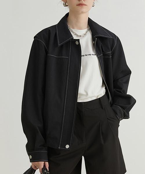 【Fano Studios】【2021AW】White stitch lapel jacket FQ21W016