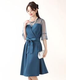 BLUEEAST(ブルーイースト)のリボンベルト付きドットチュール切替ビスチェパーティードレス・結婚式ワンピース(ドレス)