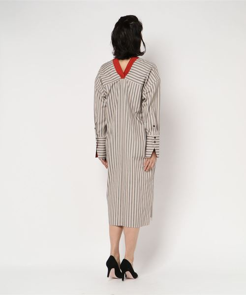 "beautiful people ""REGIMENTAL STRIPE SPRIT"" シャツドレス"