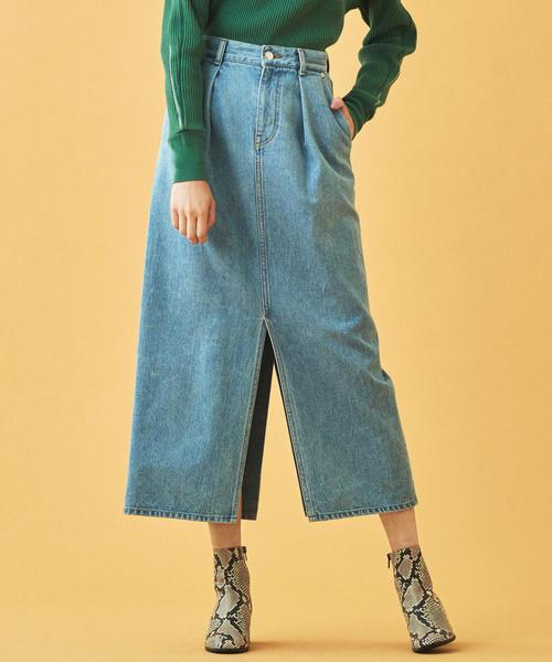 流行 コットンデニム フロントタックロングスカート(デニムスカート) MACPHEE(マカフィー)のファッション通販, サイキシ:cdbf8871 --- tsuburaya.azurewebsites.net