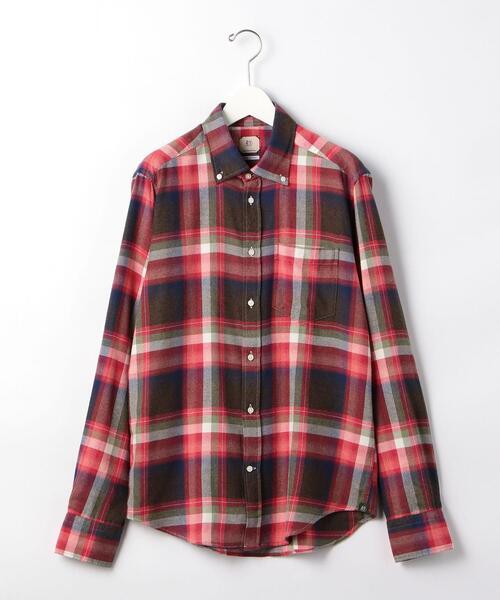 ★AD56 ブラッシュド チェック ボタンダウンシャツ