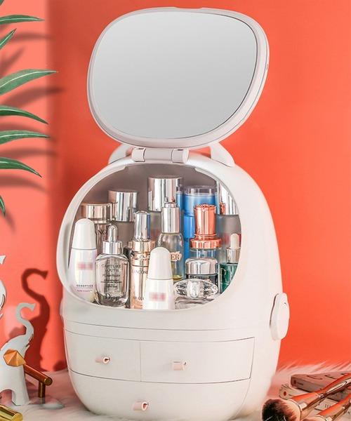 女優ミラー USB充電 LED付き 卓上鏡 コスメ アクセサリー 大容量収納ボックス