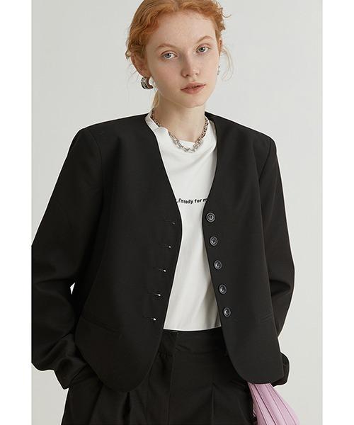 【Fano Studios】【2021AW】V-neck short suit jacket FQ21W013
