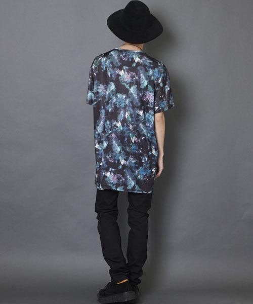 総柄グラフィック ビッグシルエットカットソー ビッグシルエットドロップショルダーTシャツ ビッグTシャツ PE-101