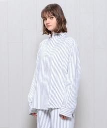 <MAGEE>STRIPE GRANDPA NIGHT SHIRT/シャツ.