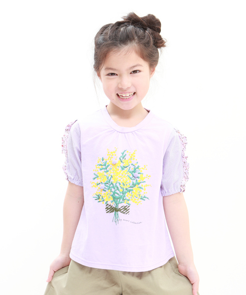 RAGMART(ラグマート)の「AラインTシャツ ミモザ(Tシャツ/カットソー)」|パープル