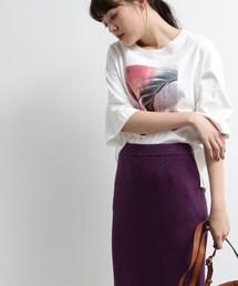 OZOC(オゾック)の[洗える・36(S)/42(LL)WEB限定サイズ]フォト転写ビッグTシャツ(Tシャツ/カットソー)