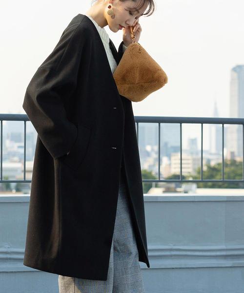 coen(コーエン)の「【WEB限定カラー:ブラック・ナチュラル】ジャージメルトンVネックノーカラーコート(ノーカラージャケット)」|ブラック