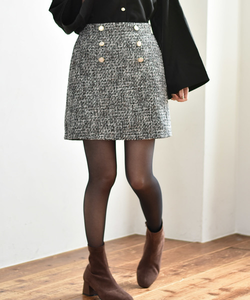 前釦ツイードスカート