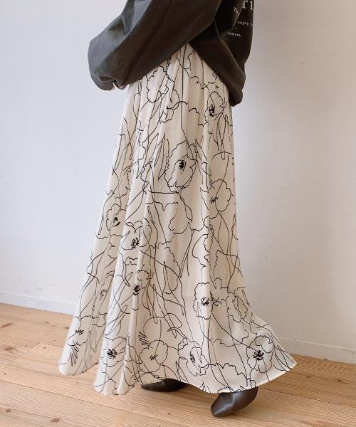 VANNIE U(ヴァニーユー)の「ニュアンスフラワースカート(スカート)」 アイボリー