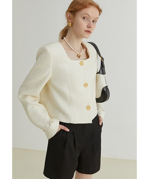 【Fano Studios】【2021AW】Square collar short tweed jacket FQ21W010