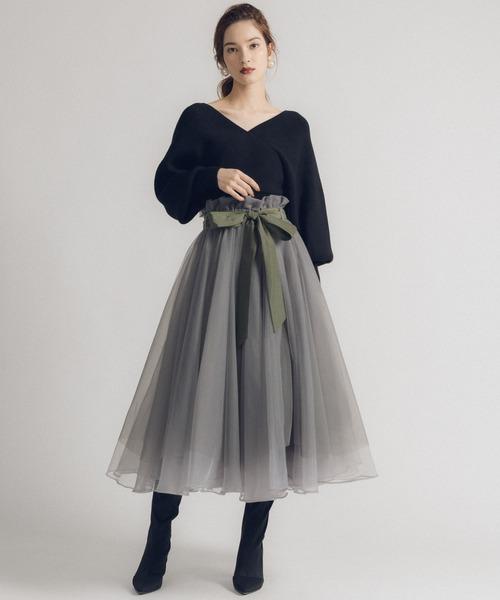 la belle Etude(ラベルエチュード)の「【LA BELLE ETUDE】Odette(ボリュームチュールスカート)(スカート)」|カーキ