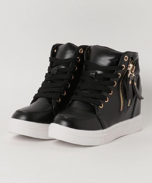 High-Cut Zip Design In Heal Sneaker / ハイカット ジップデザイン インヒール スニーカー