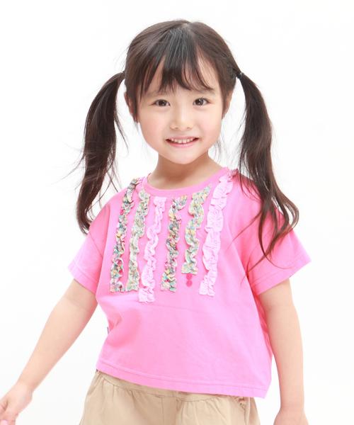 RAGMART(ラグマート)の「フリルTシャツ(Tシャツ/カットソー)」 ピンク