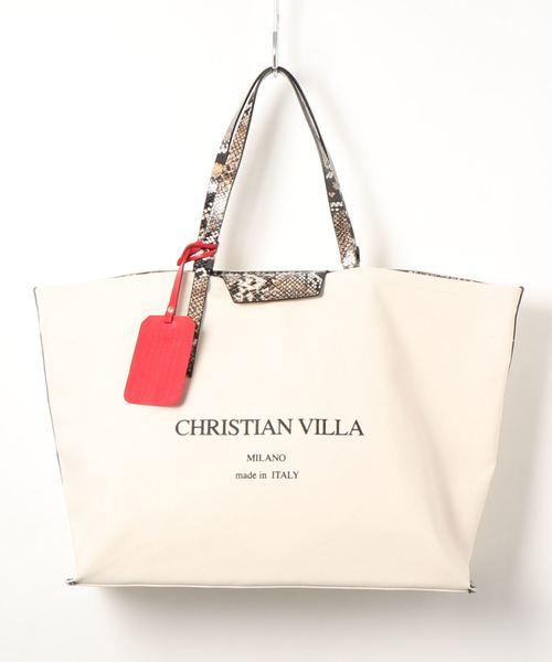 CHRISTIAN VILLA(クリスチャンヴィラ)の「【CHRISTIAN VILLA】リバーシブルビッグキャンバスバッグ(Q07101)(トートバッグ)」|ナチュラル