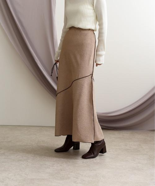 パイピングフレアロングスカート