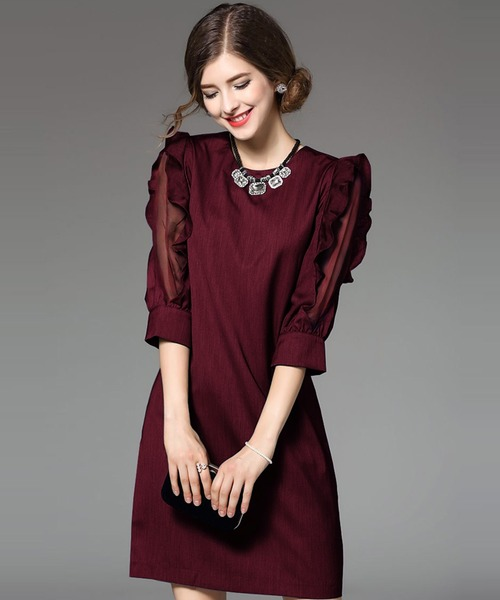 SMILE ORCHID(スマイルオーキッド)の「袖フリルワンピースパーティードレス(ドレス)」|ワインレッド