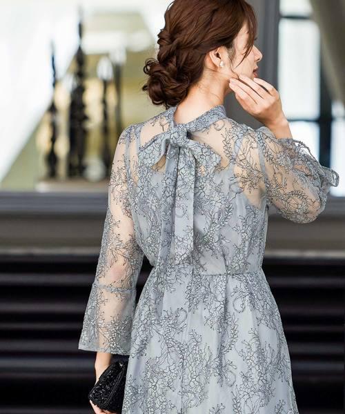 niana(ニアナ)の「襟ボウタイレース 結婚式ワンピース パーティードレス 成人式 同窓会 二次会 ドレス(ドレス)」 ブルーグレー