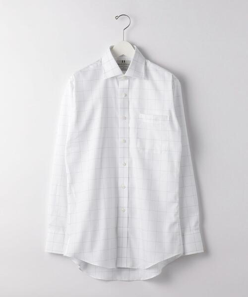 Harvie & Hudson ウィンドウペン ブリティッシュ ワイドカラー ドレスシャツ