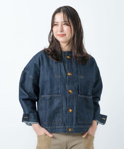 【 ubasoku / ウバソク 】バンドカラーデニムジャケット  ub-0023 BNT