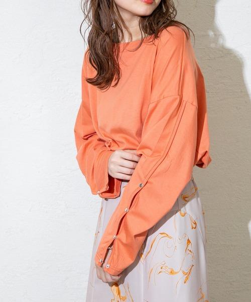 mystic(ミスティック)の「ボタンスリーブロングTシャツ(Tシャツ/カットソー)」|オレンジ