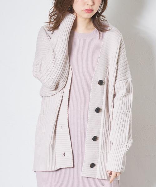 natural couture(ナチュラルクチュール)の「太リブミドルカーディガン(カーディガン/ボレロ)」|ライトベージュ