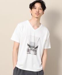 BY EDENTOPIA フォト Vネック Tシャツ ◆