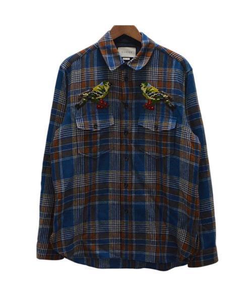 online store 98de2 2ee5d バードエンブロイダリーチェック柄長袖シャツ