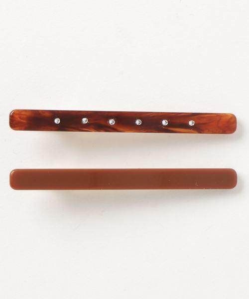 tone(トーン)の「【KuKuLu TOKYO】スワロフスキー付きロングヘアピンクリップ[2本Set](バレッタ/ヘアクリップ)」|ブラウン