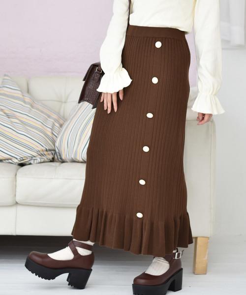 パール釦付ニットスカート