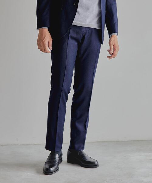 <CANONICO(カノニコ)>フラノ無地 RG ノープリーツ スーツパンツ