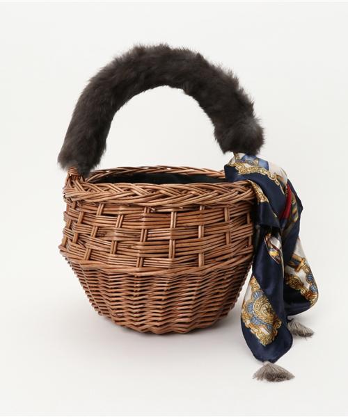 kakatoo(カカトゥ)の「カカトゥ kakatoo / スカーフフラップマルシェかごバッグ(かごバッグ)」|グレー