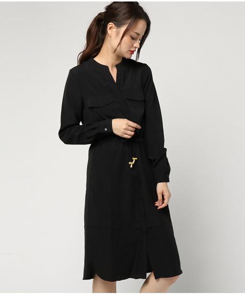 GeeRA(ジーラ)の「羽織れるモッズコート風ワンピース(シャツワンピース)」|ブラック