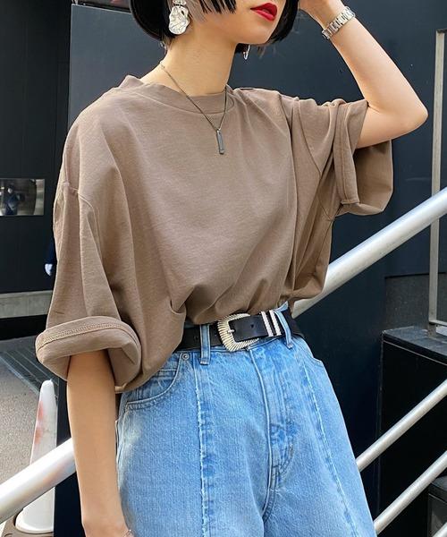 PAGEBOY(ページボーイ)の「【WEB限定アイテム】BIGシルエットTシャツ(Tシャツ/カットソー)」|ベージュ