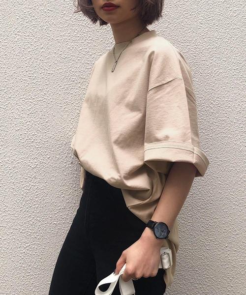 PAGEBOY(ページボーイ)の「【WEB限定アイテム】BIGシルエットTシャツ(Tシャツ/カットソー)」 ライトベージュ