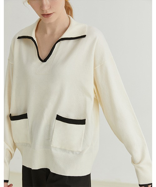 【Fano Studios】【2021AW】Open collar sweater FQ21S061