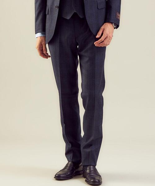 <CANONICO(カノニコ)>フラノチェック RG ノープリーツ スーツパンツ