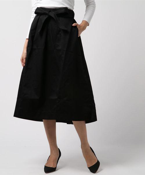 AMERICAN HOLIC(アメリカンホリック)の「・ウエストリボン裾フレアスカート(スカート)」 ブラック