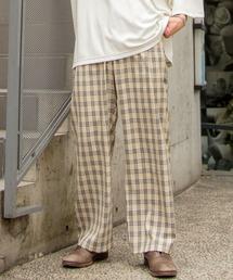ファッションインフルエンサー ろむし × BASQUE magenta チェックワイドイージーパンツベージュ