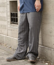 ファッションインフルエンサー ろむし × BASQUE magenta チェックワイドイージーパンツグレー