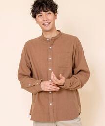 ウィンターリネンバンドカラーシャツ#