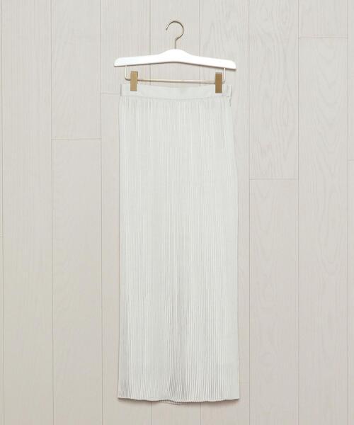 <H>SATIN PLEATED SKIRT/スカート