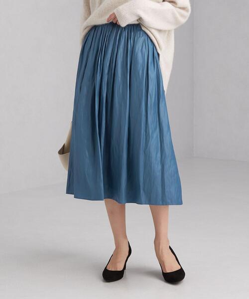 monable チンツ サテン ギャザー スカート