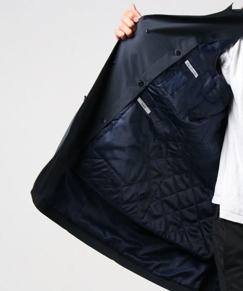合繊ステンカラーモバイルコート 綿タッチ合繊 ネイビー