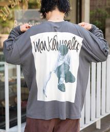 【BASQUE -enthusiastic design-】Mark Gonzales/マークゴンザレス BASQUE magenta別注 スーパービッグシルエット 長袖Tee(背面プリント)グレー
