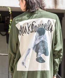【BASQUE -enthusiastic design-】Mark Gonzales/マークゴンザレス BASQUE magenta別注 スーパービッグシルエット 長袖Tee(背面プリント)ダークグリーン