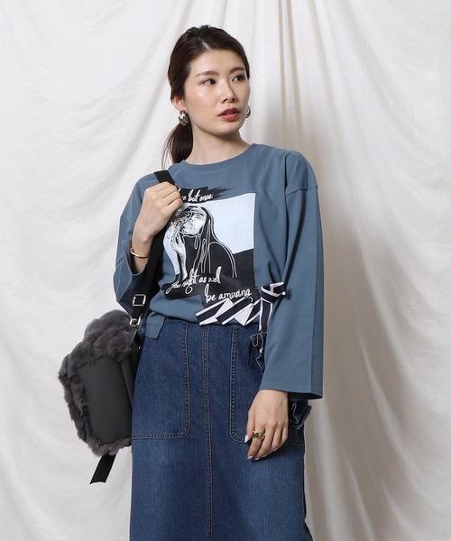 Re.Verofonna(ヴェロフォンナ)の「バイカラーリボンプリントTシャツ(Tシャツ/カットソー)」|ブルー